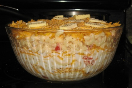 Macaroni and cheese layers