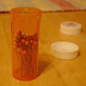 prescription bottle pin storage