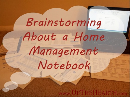 Brainstorming About a Home Management Notebook