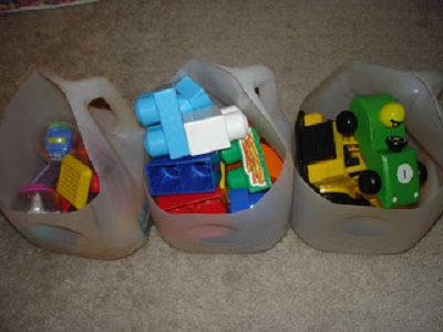 toy storage from milk jugs