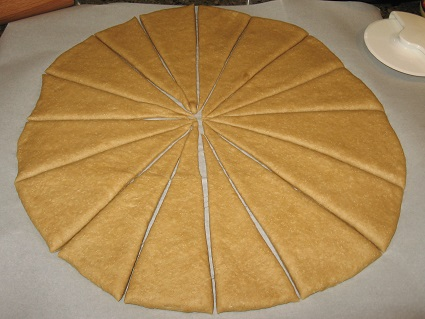 Butterhorn dough cut into wedges