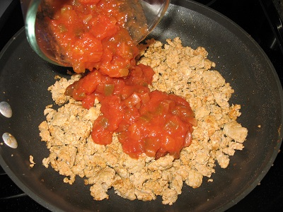 Ground Turkey with Salsa for Queso