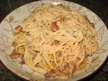A serving of Creamy Turkey Mushroom Spaghetti | Creamy Turkey Mushroom Spaghetti, a hearty casserole, is a perfect dish for cold winter nights. Try this tasty, easy-to-prepare dish tonight.
