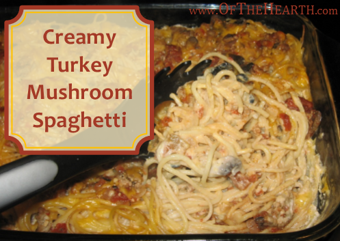 Creamy Turkey Mushroom Spaghetti | Creamy Turkey Mushroom Spaghetti, a hearty casserole, is a perfect dish for cold winter nights. Try this tasty, easy-to-prepare dish tonight.