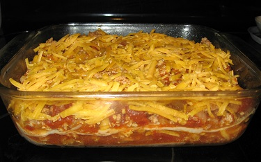Easy Mexican Lasagna ready to bake