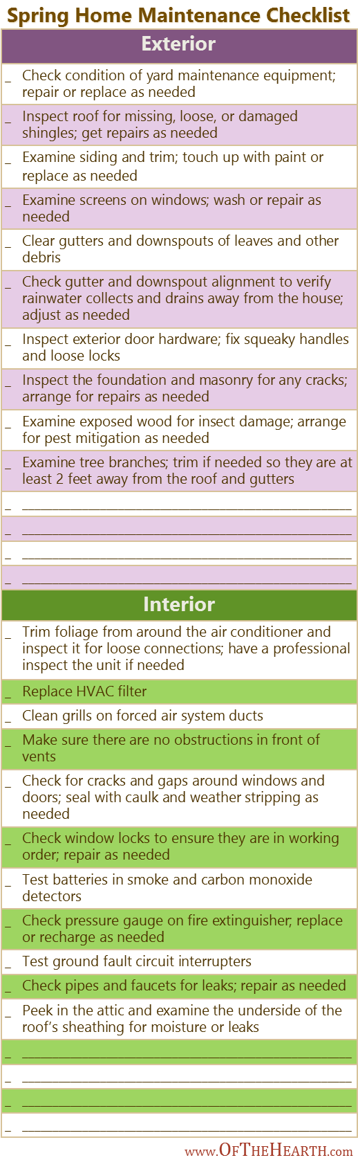 Spring Home Maintenance Checklist | Investing time and effort to maintain your home today will save you expense and inconvenience tomorrow. Here's a checklist of spring home maintenance tasks.