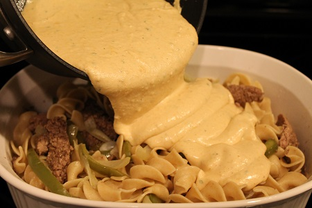 Philly Cheesesteak Casserole (cheese sauce)   This delicious and affordable dish presents the classic flavor of Philly Cheesesteak in a rich and creamy casserole.