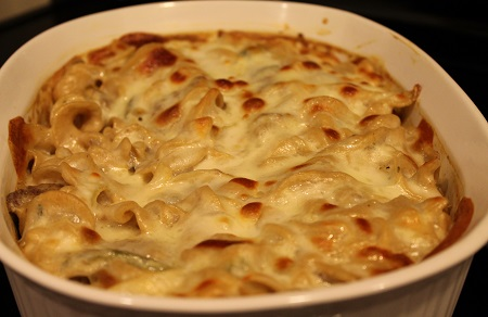 Philly Cheesesteak Casserole (fresh from oven)   This delicious and affordable dish presents the classic flavor of Philly Cheesesteak in a rich and creamy casserole.
