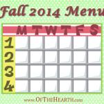 Fall 2014 Menu