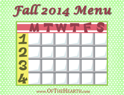 Fall 2014 Menu | What's for dinner in my house during fall 2014? Menu items range from flavorful cream of tomato soup with pesto to hearty ranch macaroni and cheese.
