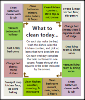 Daily Cleaning Schedule for Home Mgt Binder