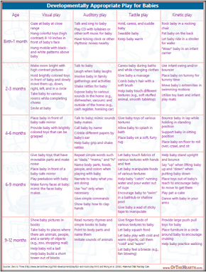 Developmentally Appropriate Play for Babies chart for Home Mgt Binder