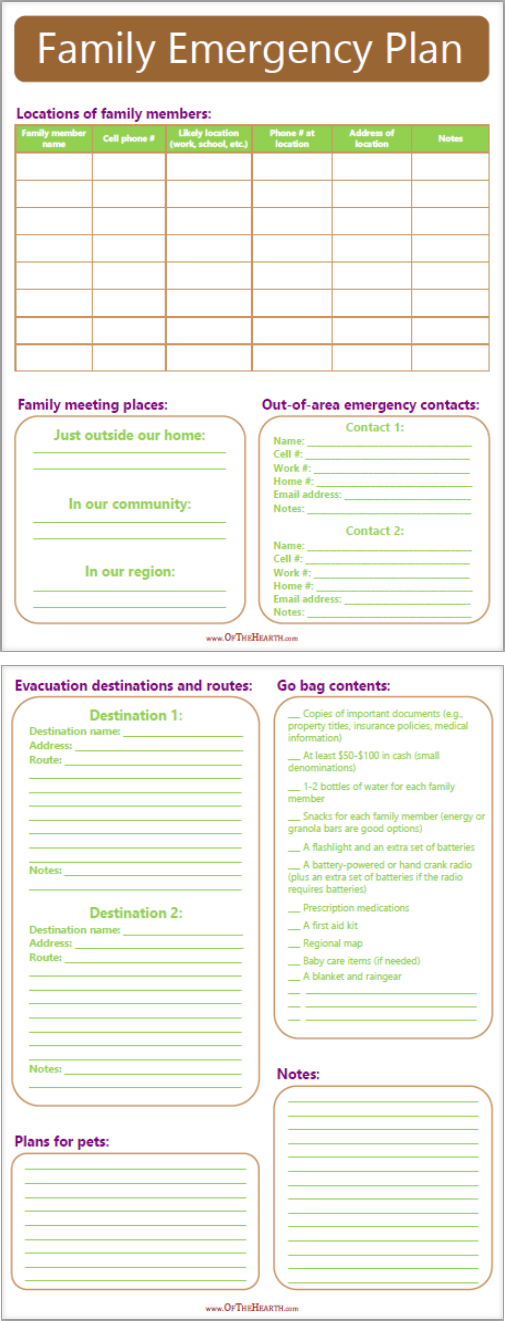 Emergency Plan Printable | When a disaster that requires evacuation occurs, how will your family meet up? Where will you go? Answer these questions with this handy printable.