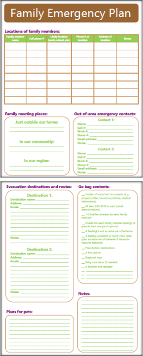 Family Emergency Plan for Home Mgt Binder
