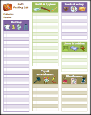 Kids Packing List Printable for Home Mgt Binder
