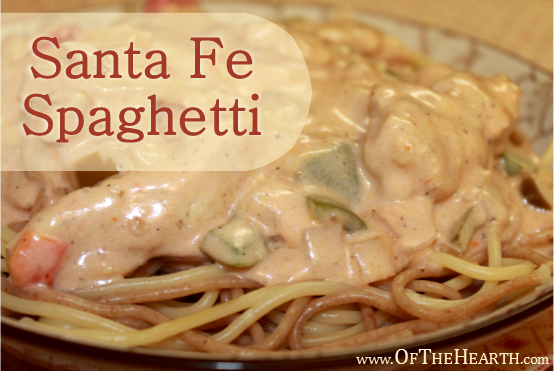Santa Fe Spaghetti recipe | Mellow Alfredo sauce and spicy salsa are perfect complements in Santa Fe Spaghetti. Add some variety to your table with this novel, flavorful dish!