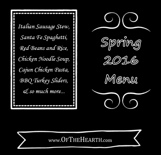 Spring 2016 Menu | What's for dinner in my house during spring 2016? Menu items range from hearty Beef Stew to flavorful Cajun Chicken Pasta.