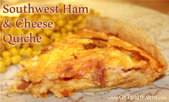 Southwest Ham and Cheese Quiche recipe | This recipe adds a southwestern flair to classic ham and cheese quiche. Try this savory dish for breakfast, lunch, or dinner!
