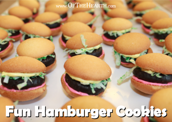Despite being easy to prepare, these no-bake hamburger cookies are a huge hit! Share some of these hamburger-shaped treats at your next picnic or barbecue.