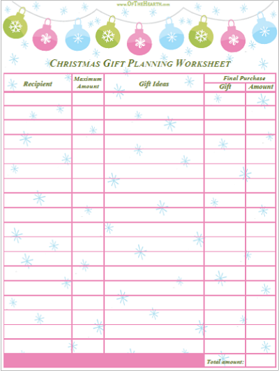 Christmas Gift Planning Worksheet - Best Printables