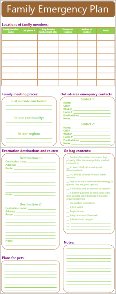 Family Emergency Plan - Best Printables