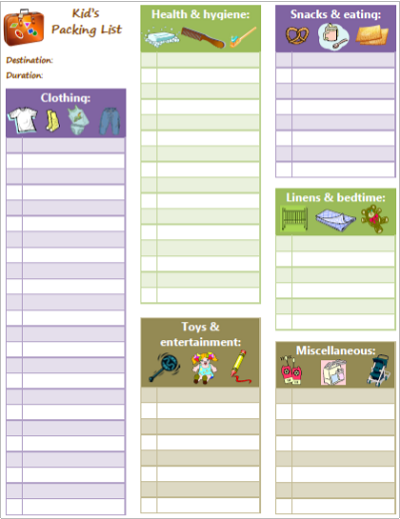Packing List for kids - Best Printables