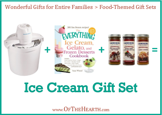 Ice Cream Gift Set | One way to give meaningful gifts while remaining in budget is to give gifts to family units. Here are over a dozen great family gift ideas.