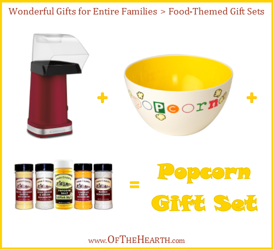 Popcorn Gift Set | One way to give meaningful gifts while remaining in budget is to give gifts to family units. Here are over a dozen great family gift ideas.