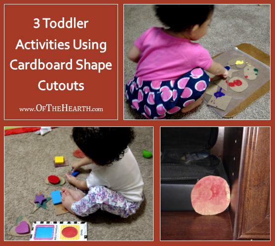These 3 simple activities that center on cardboard shape cutouts will provide your toddler with hours of free learning and fun!