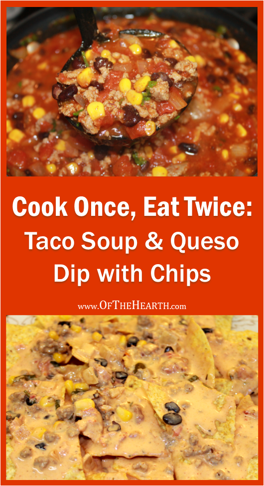 Prepare two meals in the time it takes to prepare one with this recipe that yields two family-friendly dishes: Taco Soup and Queso Dip.