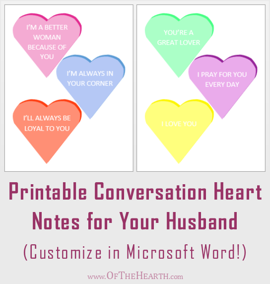 Printable Conversation Heart Notes for Your Husband