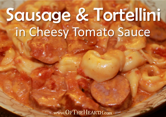 Savory, hearty Sausage and Tortellini in Cheesy Tomato Sauce mixes the complementary flavors of cheese and sausage in a simple tomato sauce.