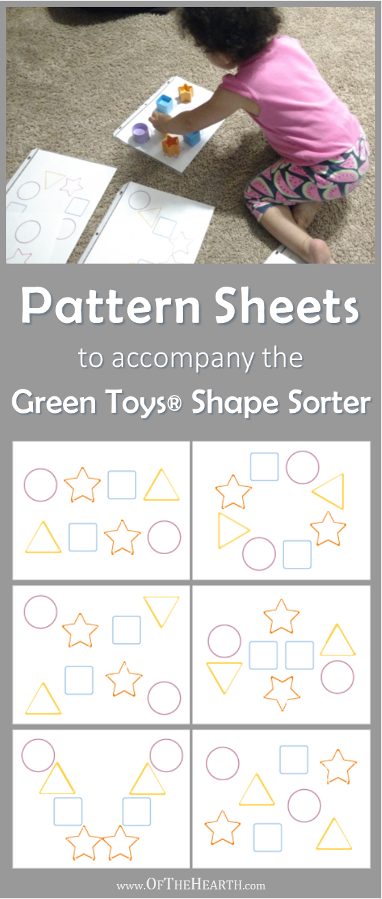 Pattern Sheets to Accompany the Green Toys Shape Sorter