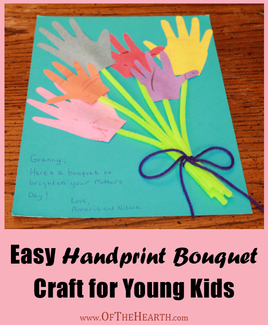 This cute and simple handprint bouquet craft is a wonderful way for your little ones to share their love with their moms and grandmas.