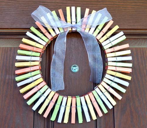 Easy Spring Clothespin Wreath