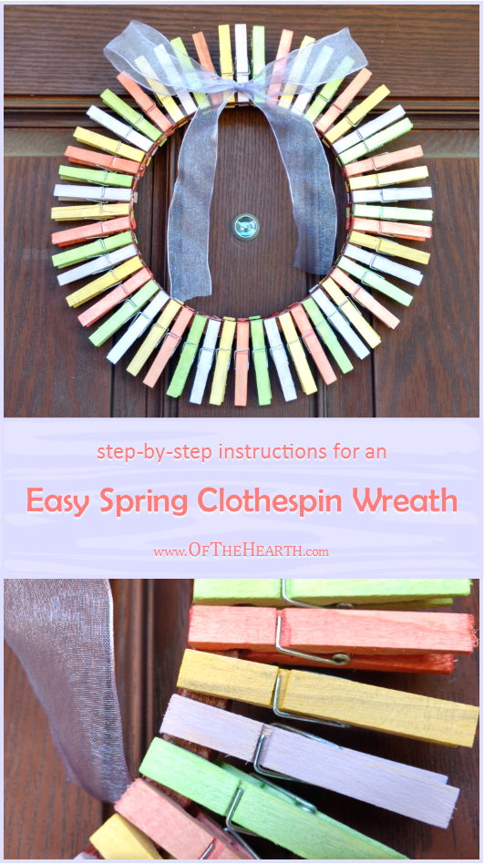 With just a few dollars' worth of supplies, you can give your door a cheery look by creating an easy-to-make spring clothespin wreath!