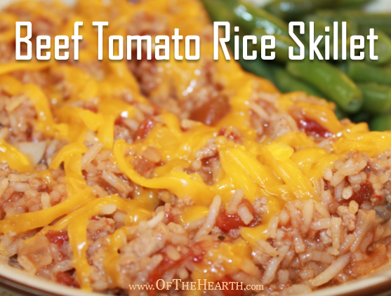 Beef Tomato Rice Skillet is perfect for busy nights. It's a no-fuss dish made with affordable ingredients and conveniently prepared in one skillet.