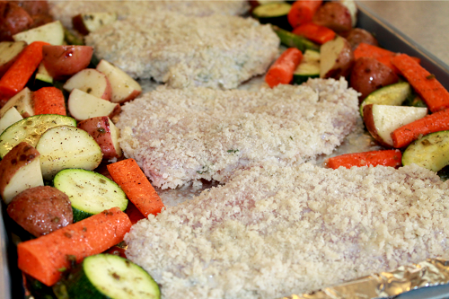 Ranch Chicken and Veggies Sheet Pan Dinner ready for oven