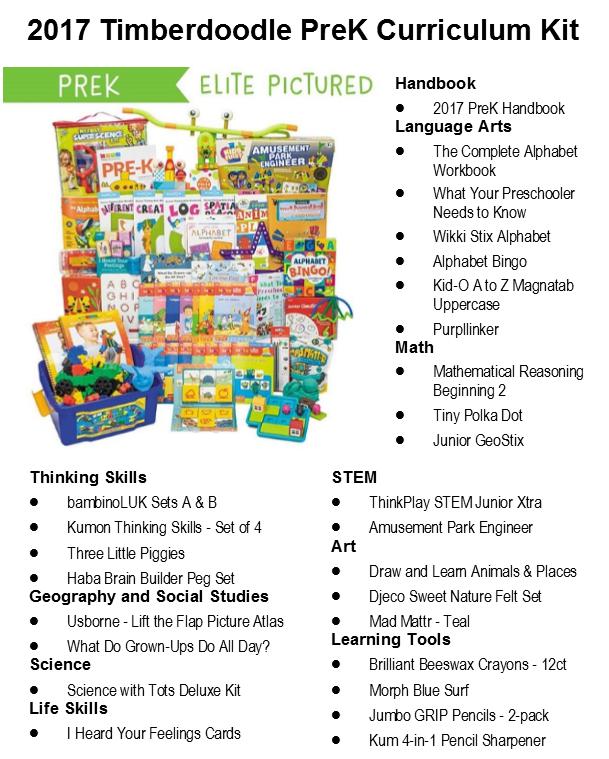 2017 Timberdoodle PreK Curriculum Kit Contents