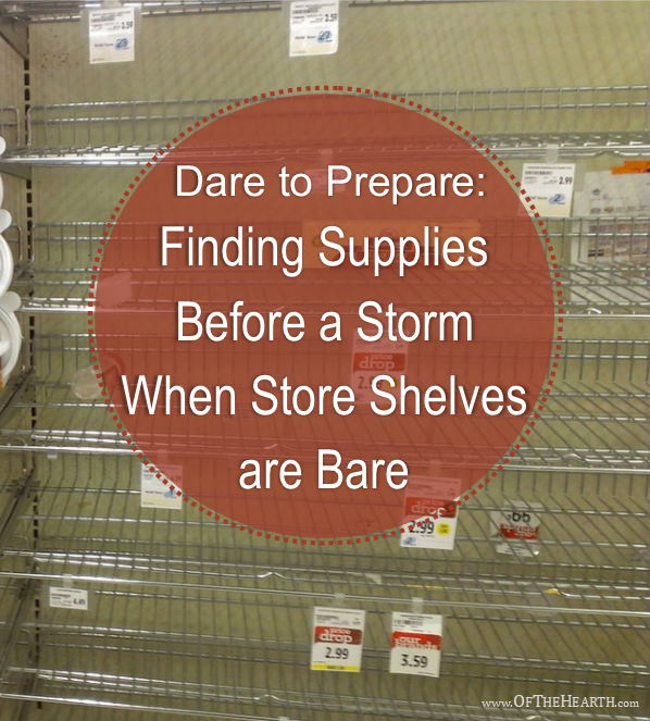 When major storms approach, grocery stores run out of bottled water and nonperishable foods. Where can you find emergency supplies when this happens?