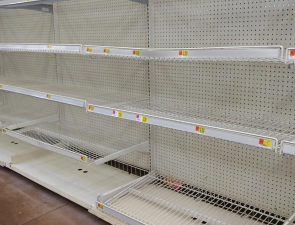 Empty shelves before a storm