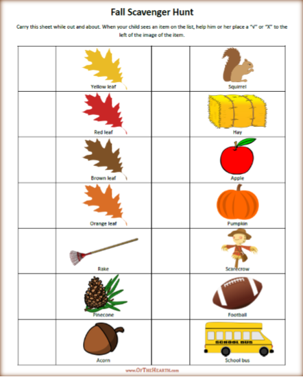With this free fall scavenger hunt printable, your child can have fun noting the items you've seen as you take in the sights of fall.