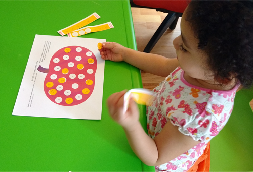 Dot sticker letter matching - Fall Worksheets for Preschoolers