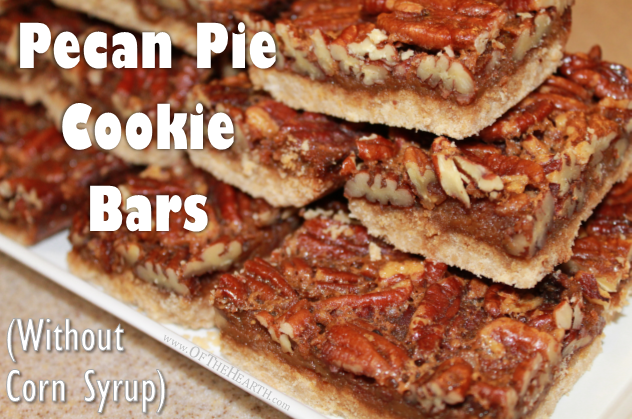 Get the sweet, nutty flavor of pecan pie in convenient cookie bars! These cookie bars, made without corn syrup, are a perfect fall dessert or snack.