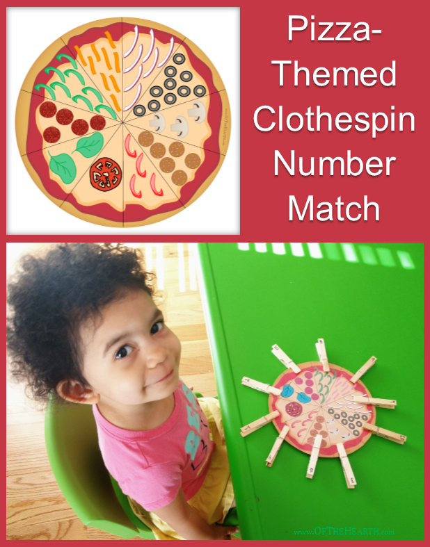 Clothespin number match activities help preschoolers practice counting, matching, and fine motor skills. Here's a fun one that looks like a pizza!