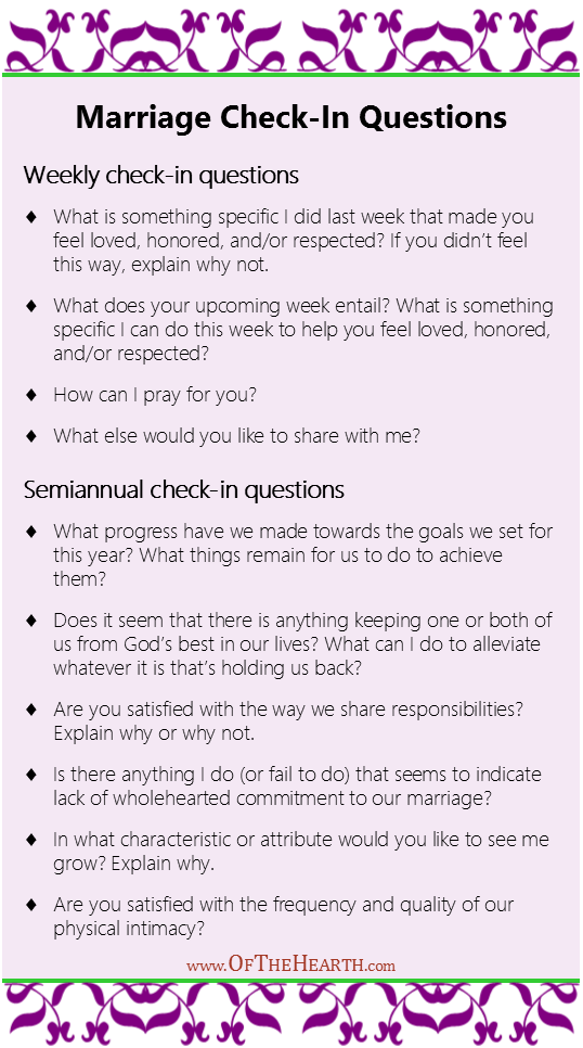 Marriage Check-In Questions - Marriage Goals for the New Year