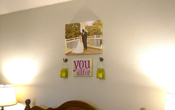Wedding Vow Word Cloud on wall with wedding photo and lanterns